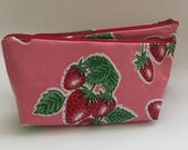 "NEW Retro Large Oilcloth Makeup Cosmetic Zipper Pouch Clutch Wet Bag Pencil Case Oilcloth Lined Strawberries and Polka Dots 5.5"" x 9"""