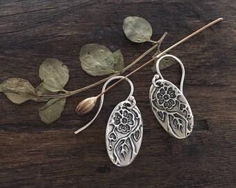 flower earrings | heart earrings | blooming heart | woodland earrings | eco friendly  earrings | Where Love Grows Earrings