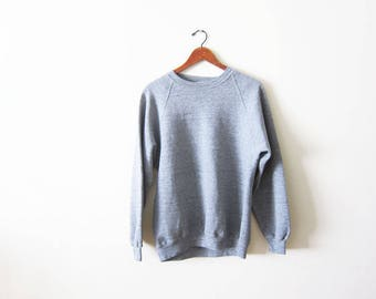 Vintage Gray Sweatshirt - 80s Heather Grey Raglan Pullover - Triblend Sweatshirt - Athletic Sweatshirt - Crewneck - Gray Sweatshirt Large