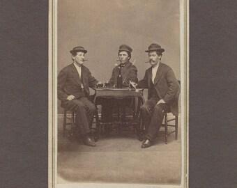 CDV of Three Rough Looking Gents Smoking Cigars and Drinking