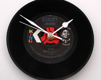 """JAMES BROWN Vinyl Record CLOCK, a recycled 7"""" single, """"Get Up, Get Into It, Get Involved"""", great gift for, Soul brother sisters, dad, mum"""