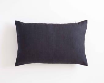 Dark gray lumbar throw pillow cover for home decor, linen decorative pillow custom size, long lumbar pillow cover, black and white nursery