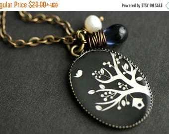 BACK to SCHOOL SALE Midnight Tree Necklace. Navy Blue and White Tree Pendant with Dark Blue Teardrop and Pearl. Charm Necklace. Bronze Neckl