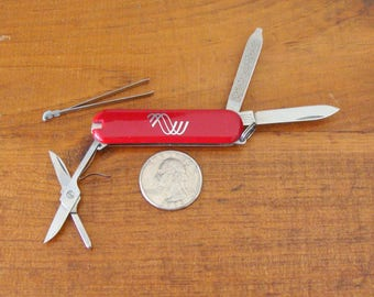 Little Victorinox Advertising Pen Knife Key Chain w/ Sheath, very minty Stocking Stuffer