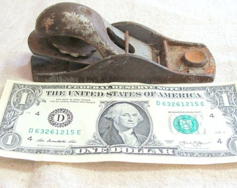 """Vintage 5 1/8"""" Cast Iron Block Plane Marked Made in USA, Basic Wood Working Tool"""