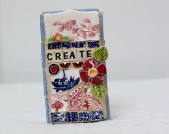 CREATE, mosaic wall art, gift, mosaic, mosaic art