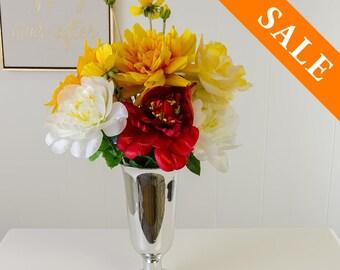 Yellow White Red Silk Arrangement - Artificial Flowers - Faux Arrangement - Centerpiece - Home Decor