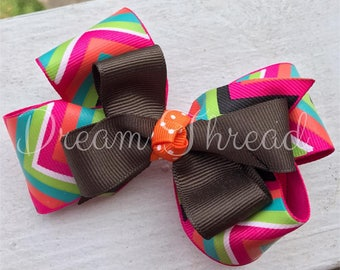 Boutique Double Stacked Hairbows, Baby Boutique Bows, HairBows, Flower Hairbows, Solid color hairbows, girls (made to order)