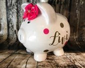 LARGE Personalized piggy bank, Hot Pink and gold Polka dots piggy,girl bank, birthday banks, custom piggy banks, baby's first piggy bank