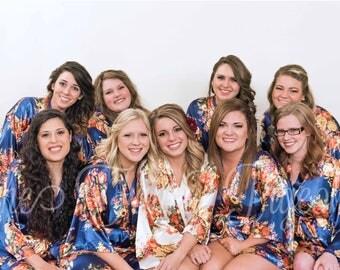NAVY FLORAL SATIN Robe - Silk Kimono Robe - Floral Silk Robe - Floral Dressing Gown - Floral Bridal Robes - Floral Bridesmaid Robes