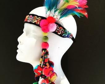Pom pom head wrap - Multi Color Headdress -Pom pom headpiece- Tribal -Music Festival- Burner Head piece- Pride- Rainbow Headpiece- Boho Hair