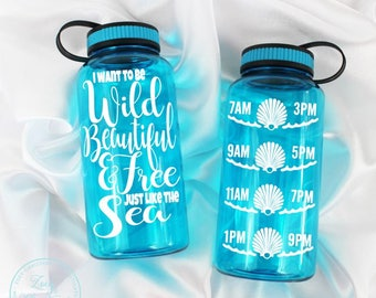 Mermaid water bottle, water intake bottle, water bottle intake, water intake tracker, Mermaid ,  Water bottle 34oz., beach water bottle gift