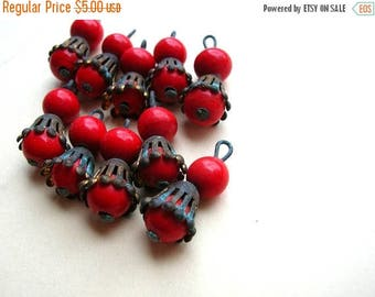 Vintage Red Bohemian Bead Drops - Glass Beads - Brass