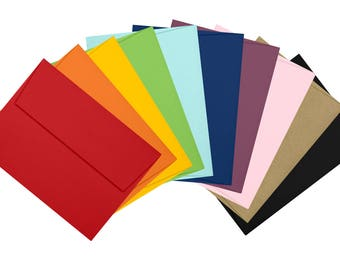 A7 Invitation Envelopes (5 1/4 x 7 1/4) - Assorted Rainbow Pack of 50 - NEW