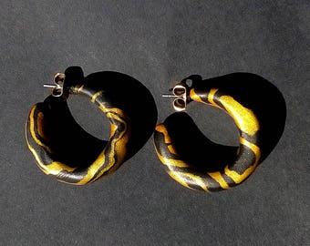Classy Mini Range   Gold + Black Zebra Hoop Earrings