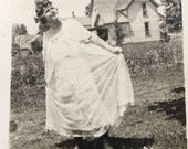 Edwardian Beauty in Peignoir in Farmhouse Yard Vintage Photo