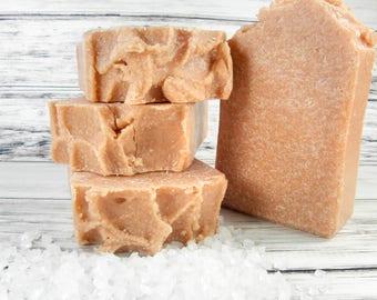 ROSE CLAY sea salt soap/salt bar/goat milk soap/homemade soap/gift women/wholesale soap/soap favors/sea salt scrub bar