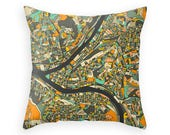 PITTSBURGH MAP Throw Pillow for your Home Décor (dark version)