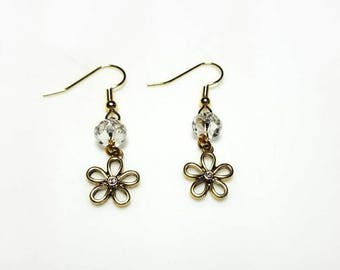 gold flower clear crystal beaded earrings hypoallergenic earrings nickel free earrings dangle drop pretty everyday jewelry gifts for her