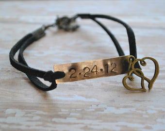 Save The Date, Date Bracelet, Save The Date Stamp, Birthday, Birthdate Bracelet, Copper, Copper Jewelry, Leather, Leather Bracelet, Unisex
