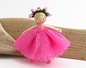 Little ballerina doll, miniature bendy doll, pink small doll, poseable doll, miniature ballet dancer, little dancer, pink ballet dancer