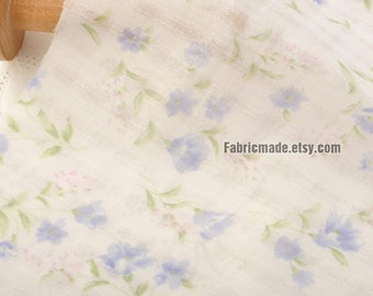 Light Weight Summer Cotton Fabric With Little Light Blue Flower on Off White Cotton - 1/2 Yard