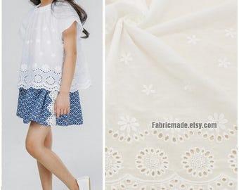 Off White Cotton Eyelet Hollowed Border Fabric, White Lace fabric Lace Cotton Border Embroidery Fabric Cotton 1/2 yard