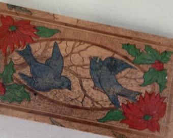 Antique Pyrography Box Blue Birds
