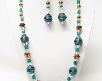 Green & Gold Wrapped Lamp Work Glass Bead Necklace/Bracelet/Earrings