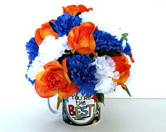 Floral mug bouquet, Gift for men, Gift for women, Gift for bosses, Floral arrangement, You're The Best centerpiece (GN153)