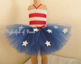 4th of July Tutu Dress with Stars on the Skirt, Patriotic Tutu