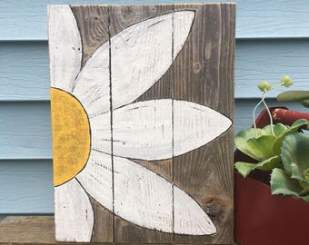 Hand painted Daisy on old barn wood wall decor