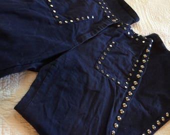 60s 70s Studded Indigo High Waisted Denim Jeans