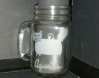 Aquarius the water bearer from our Kitty Kat  Zodiac series on a 16 oz threaded mug