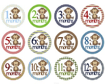 Baby Boy Month Stickers Monthly Baby Stickers Milestone Stickers Baby Stickers Baby Shower Gift Photo Stickers