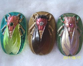 Czech Glass Buttons (3 PCS) Hand Painted SCARAB Cicada 40mm IVA 006