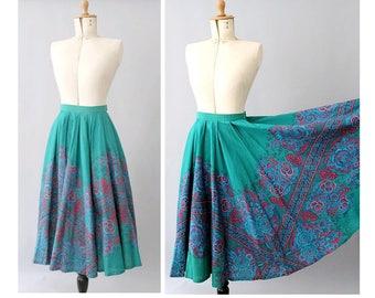 Mésanges 80s full circle cotton floral emerald Skirt/80s summer skirt