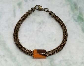 Cocoa brown unisex viking knit bracelet with slider bead