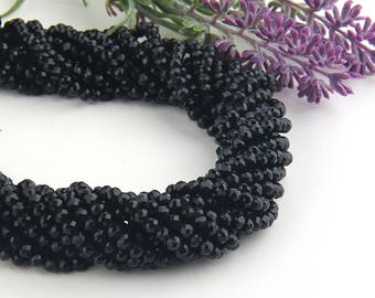 Black, Faceted  Rondelle Chinese Crystal Beads, Crystal Rondelle Beads, 1 strand-135 pcs // BD-066