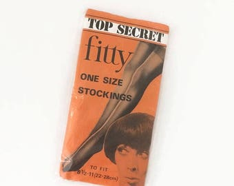 On Sale Vintage Stockings - Top Secret fitty Stockings - Ivory - NOS Unused  - 1960s Nylons - Vintage Lingerie - Hosiery