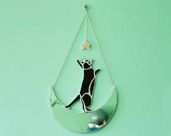 Crescent Moon Black Cat Mirror