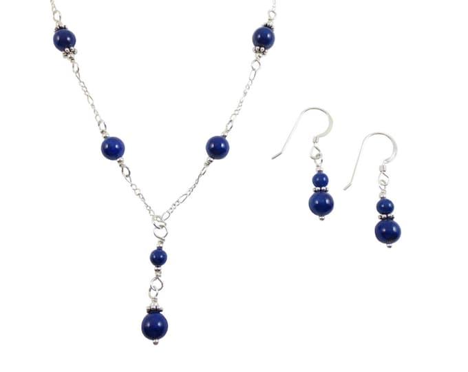 6 mm Blue Lapis Lazuli Beaded Y Necklace & Earrings Set