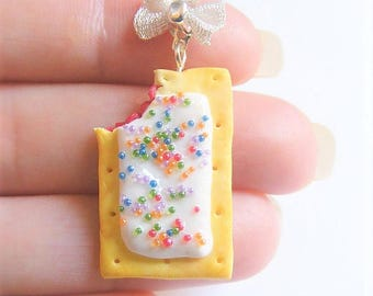 Food Jewelry Toaster Pastry Necklace, Toaster Pastry Pendant, Miniature Food, Mini Food Jewelry, Handmade Jewelry, Pastry Jewelry, Kawaii