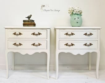 Pair of French Provincial Nightstands, Vintage French Provincial Nightstands, Hand Painted French Provincial Nightstands