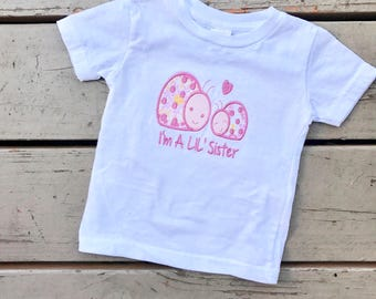 I'm a little sister shirt, embroidered little sister shirt, little sister, ladybug shirt, lil sister, embroidered tshirt, baby girl shirt,