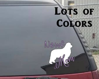 Newfoundland Newf Mom Dog Bone Car Truck Window Decal Newfoundland