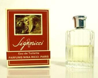 Vintage 1970s Signoricci 1 by Nina Ricci 0.23 oz Eau de Toilette Miniature Mini Cologne and Box