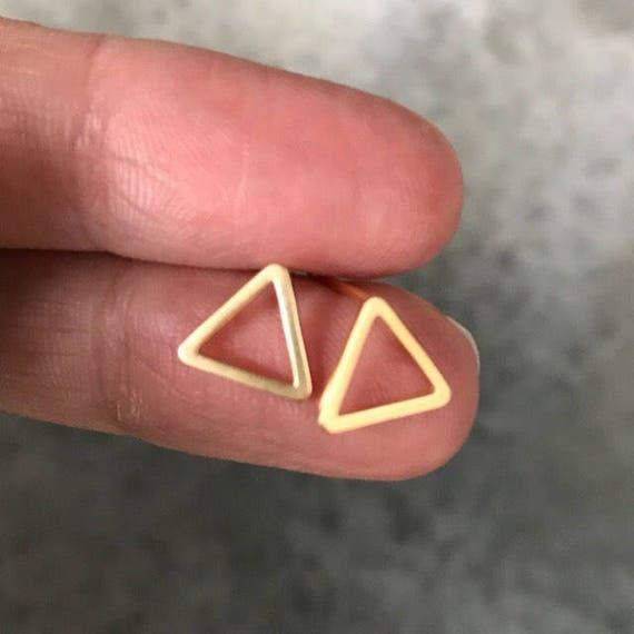 Gold triangle studs earrings, boho jewelry