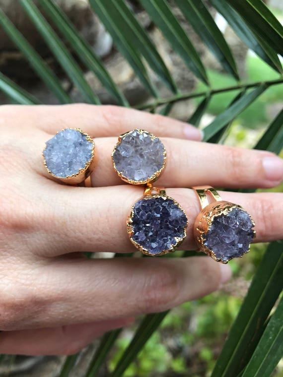 Amethyst Quartz Druzy Rings, February Birthstone, Birthstone Jewelry, Amethyst Rings, Druzy rings, Raw amethyst