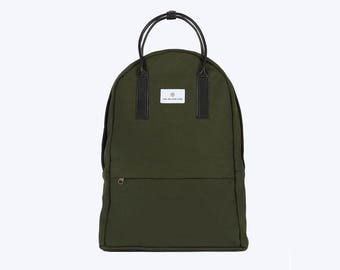 No. 12 Canvas Backpack Green, Canvas Backpack, Green Laptop Bag, Laptop Backpack, Green Backpack, Bicycle Bag, Canvas and Leather Backpack